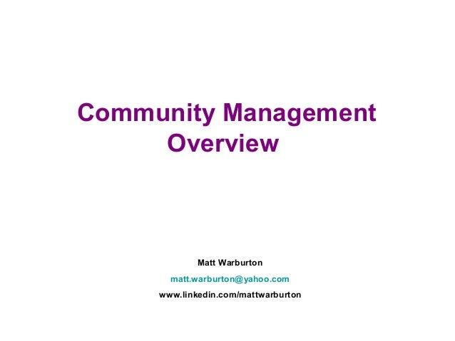 Community Management Overview