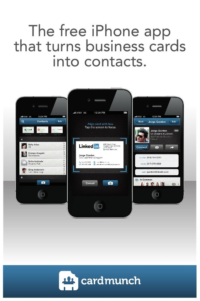 The free iPhone appthat turns business cards      into contacts.