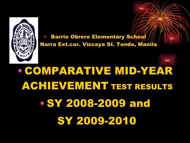 <ul><li>Barrio Obrero Elementary School Narra Ext.cor. Vizcaya St. Tondo, Manila </li></ul><ul><li>COMPARATIVE MID-YEAR AC...