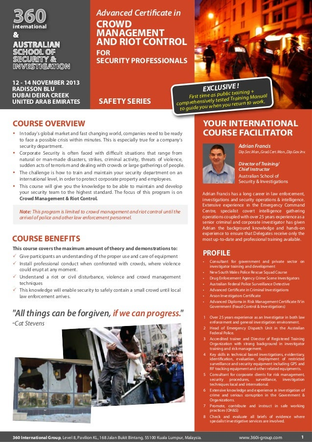 360  international  &  Advanced Certificate in  CROWD MANAGEMENT AND RIOT CONTROL FOR SECURITY PROFESSIONALS  12 - 14 NOVEM...
