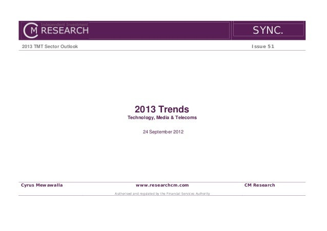 SYNC.2013 TMT Sector Outlook                                                                    Issue 51                  ...