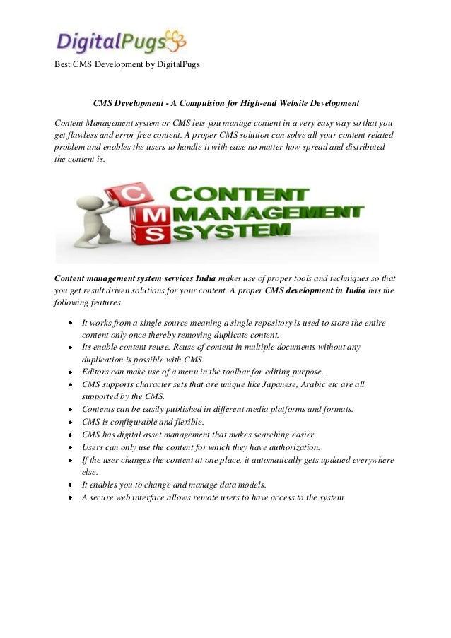 Best CMS Development by DigitalPugs  CMS Development - A Compulsion for High-end Website Development Content Management sy...