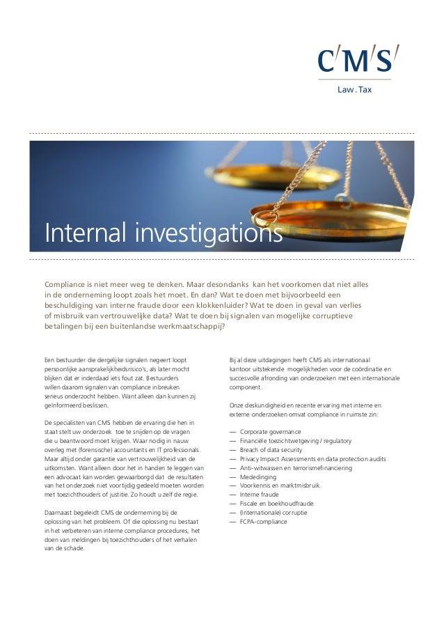 Cms factsheet internal investigations