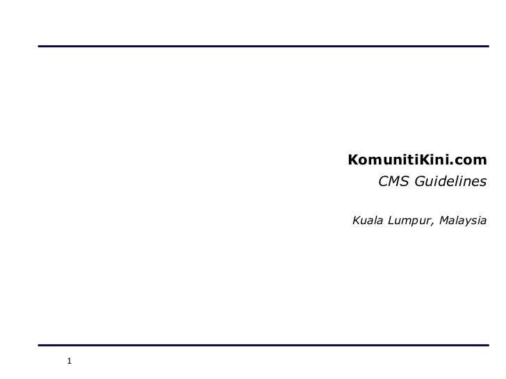 KomunitiKini CMS Guidelines