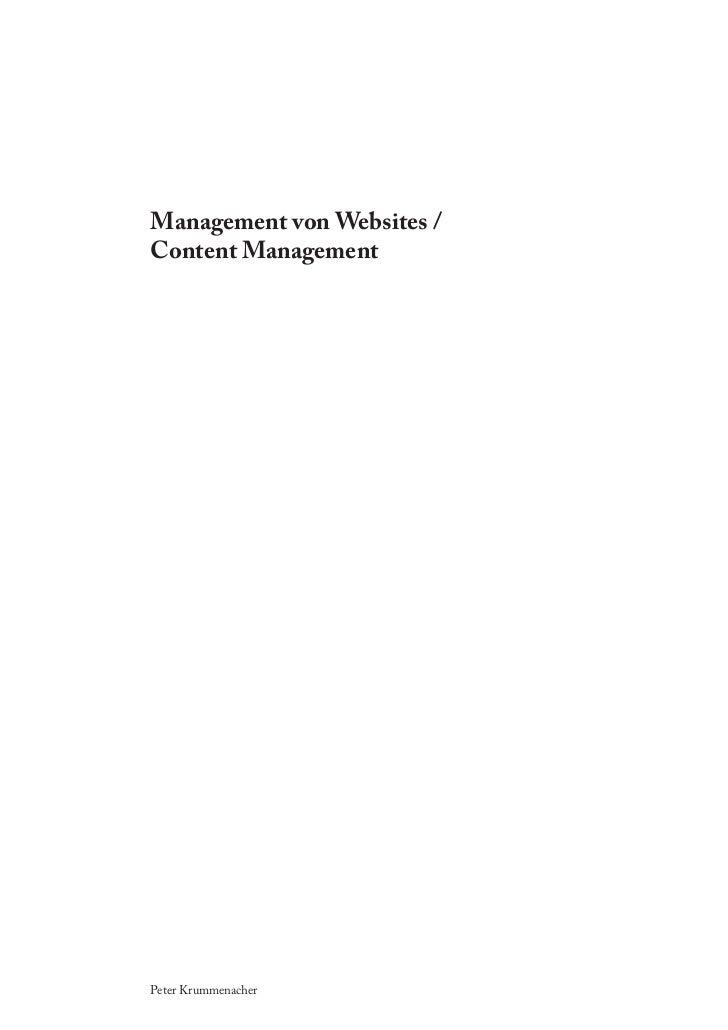 Management von Websites /Content ManagementPeter Krummenacher