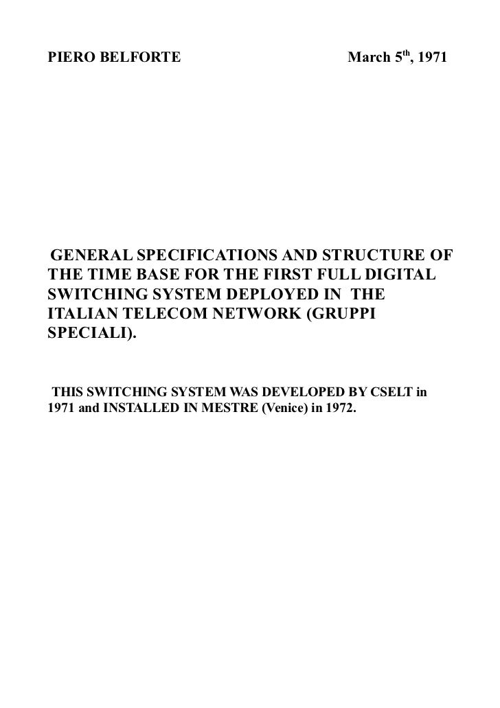 TIME BASE SPECS FOR THE FIRST ITALIAN DIGITAL SWITCH  (1971).