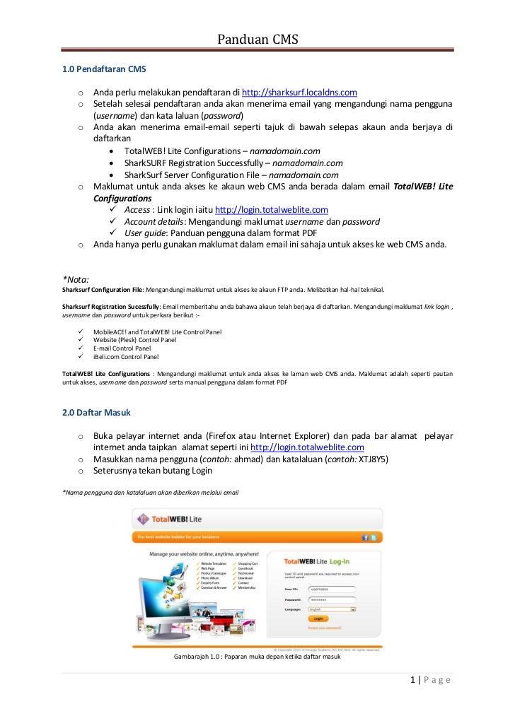 Panduan CMS1.0 Pendaftaran CMS     o    Anda perlu melakukan pendaftaran di http://sharksurf.localdns.com     o    Setelah...