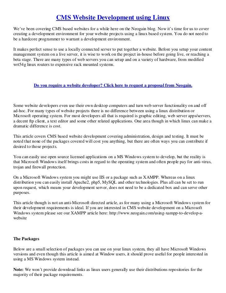 CMS Website Development using linux