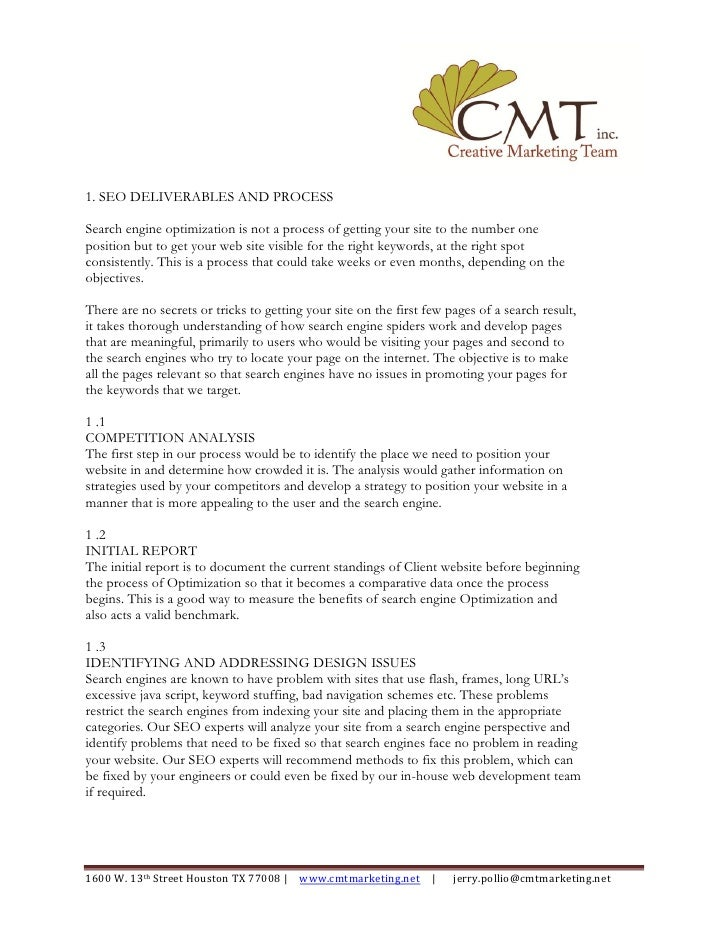 CMT SEO Deliverables