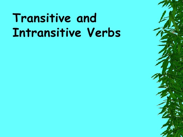 TRANSITIVE/INTRANSITIVE VERBS