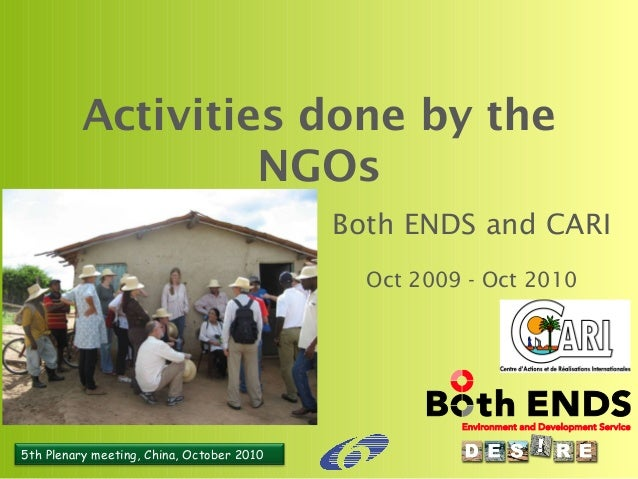 5th Plenary meeting, China, October 2010 Activities done by the NGOs Both ENDS and CARI Oct 2009 - Oct 2010