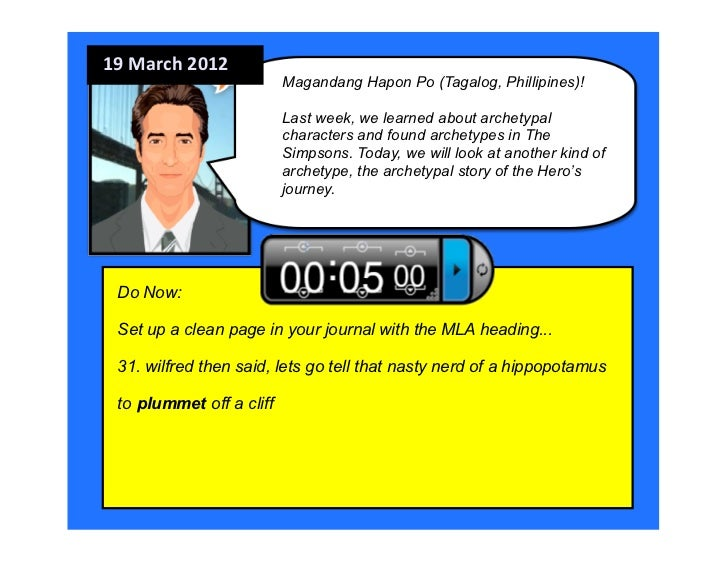 19 March 2012                           Magandang Hapon Po (Tagalog, Phillipines)!                           Last week...