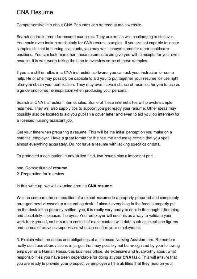 Resume samples for certified nursing assistant Aussie Essays – Cna Resume Objective