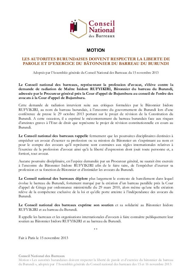 Burundi : le soutien du CNB au bâtonnier Rufyikiri