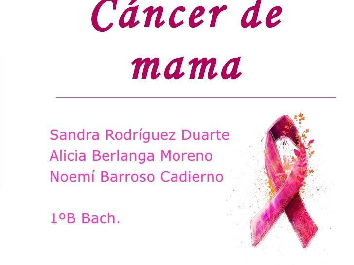 Cáncer de mama Sandra  Alicia  Noemí  1ºB Bach.