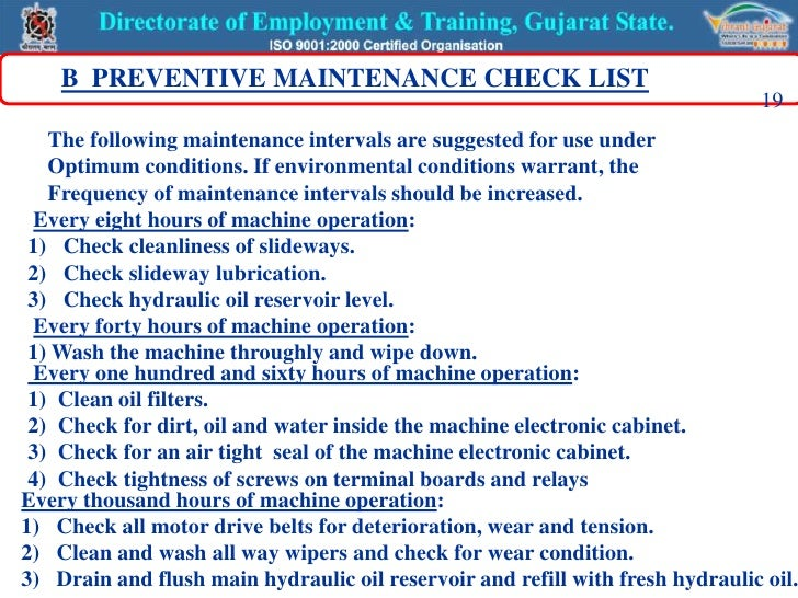 machine operator checklist