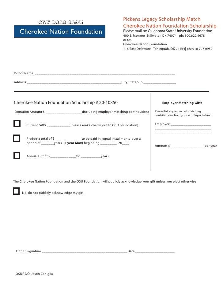 Cherokee Nation Foundation  OSU Endowed Scholarship