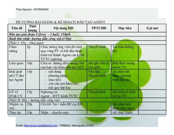 Thao Nguyen - 0979094628     ĐỀ CƯƠNG BÀI GIẢNG & KẾ HOẠCH ĐÀO TẠO AGENT              Thời  Tiêu đề                       ...