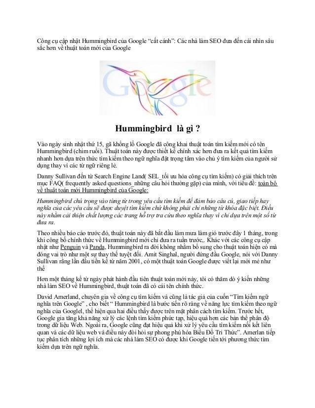 """Công cụ cập nhật Hummingbird của Google """"cất cánh"""": Các nhà làm SEO đưa đến cái nhìn sâu sắc hơn về thuật toán mới của Goo..."""
