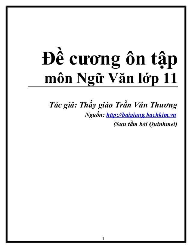 đề Cương ôn tập môn ngữ văn 11truonghocso.com