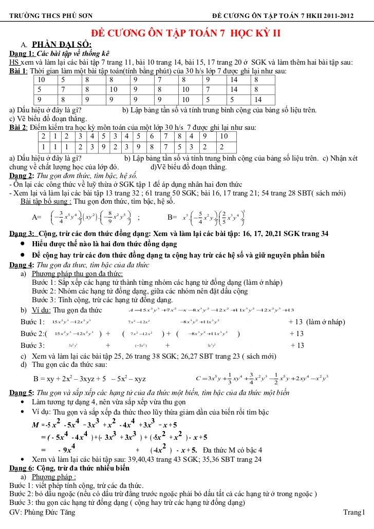 đề Cương ôn tập toán 7