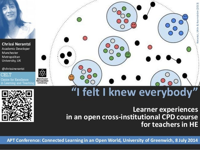 """""""I felt I knew everybody"""" Learner experiences in an open cross-institutional CPD course for teachers in HE Chrissi Nerantz..."""
