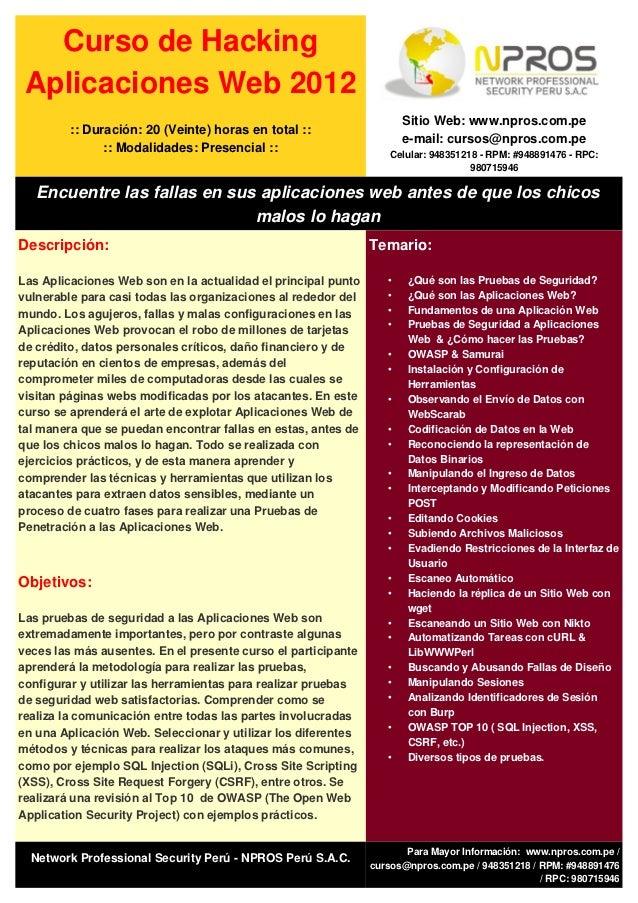 Curso de Hacking Aplicaciones Web 2012                                                                      Sitio Web: www...