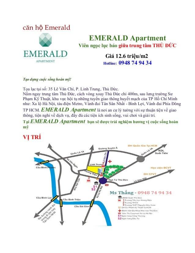 Căn hộ emerald vị trí trung tâm khu vực thủ đức giá 12,6trieu.m2
