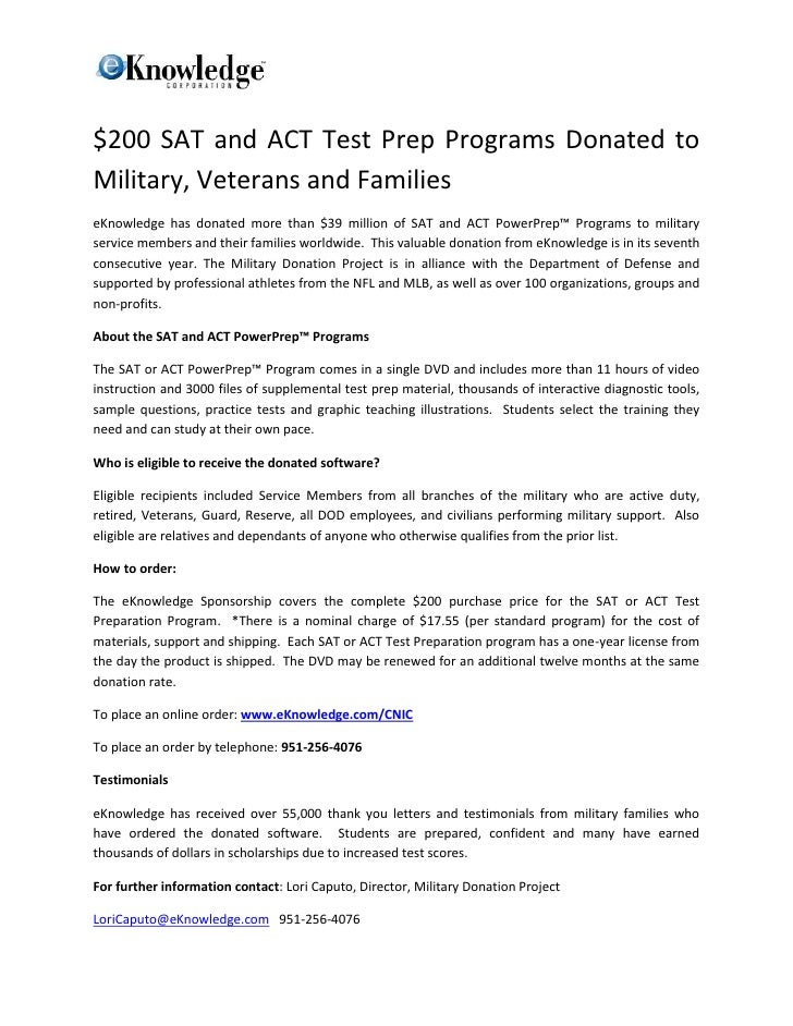 $200 SAT and ACT Test Prep Programs Donated toMilitary, Veterans and FamilieseKnowledge has donated more than $39 million ...