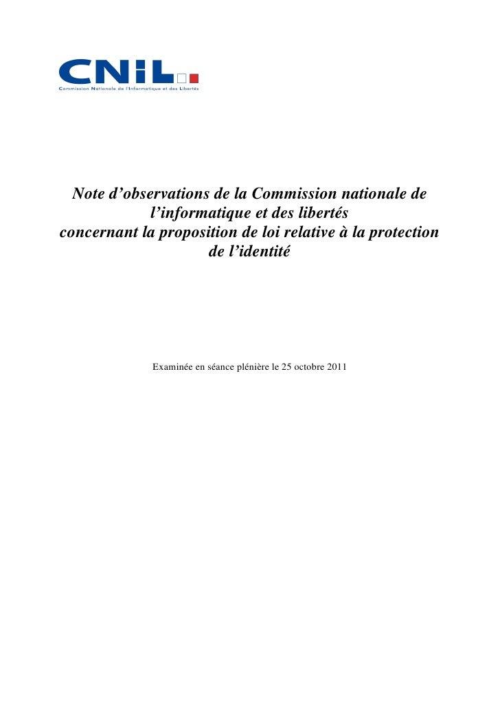 noteobservations-25-10-2011de la CNIL sur le PL relative à la protection de l'identité