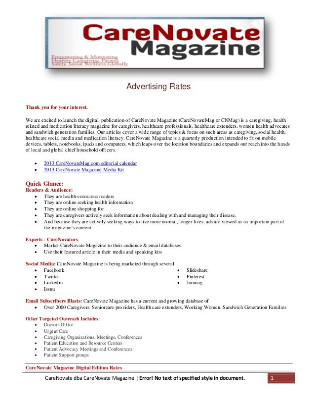 Advertising Rates CareNovate dba CareNovate Magazine | Error! No text of specified style in document. 1 Thank you for your...