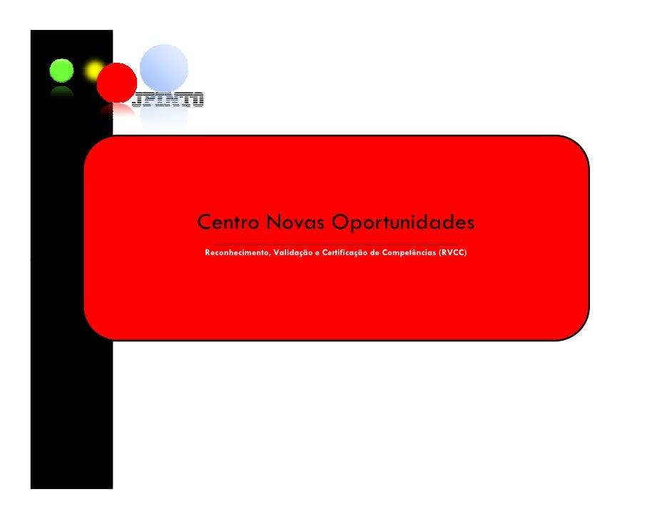Centro Novas Oportunidades   ____________________________________________________ Reconhecimento, Validação e Certificação...