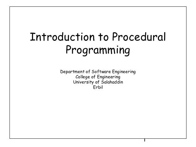 Introduction to Procedural Programming in C++