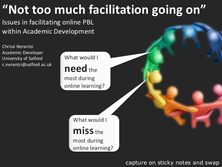 """ Not too much facilitation going on""  Issues in facilitating online PBL  within Academic Development Chrissi Nerantzi Aca..."