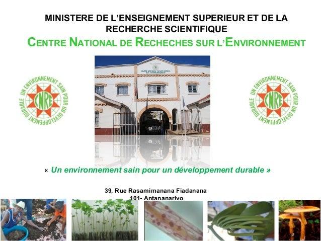 MINISTERE DE L'ENSEIGNEMENT SUPERIEUR ET DE LA RECHERCHE SCIENTIFIQUE CENTRE NATIONAL DE RECHECHES SUR L'ENVIRONNEMENT 39,...