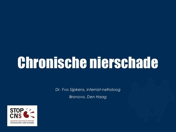 Chronische nierschade Dr. Yvo Sijpkens, internist-nefroloog Bronovo, Den Haag
