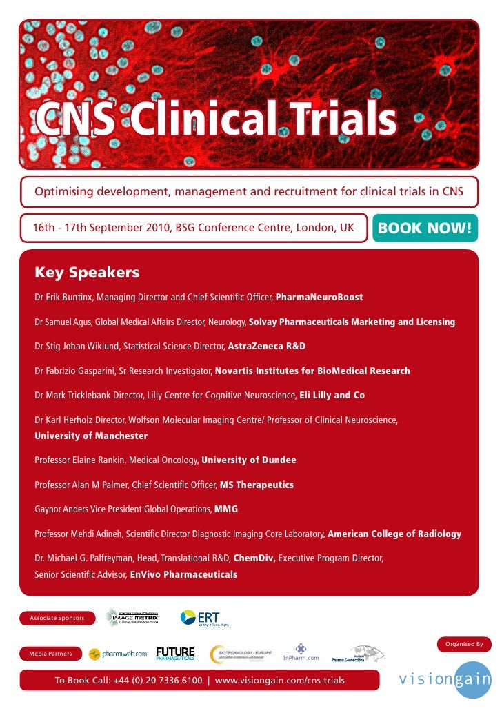 CNS Clinical Trials  Optimising development, management and recruitment for clinical trials in CNS    16th - 17th Septembe...