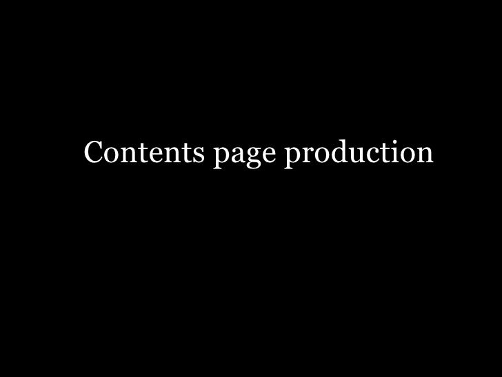 Cntents Page Production