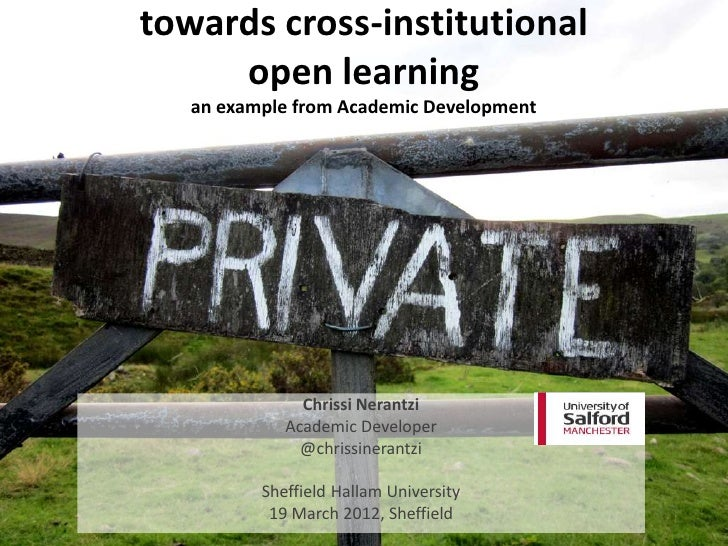 Towards cross-institutional learning (Sheffield Hallam, 19 April 12)