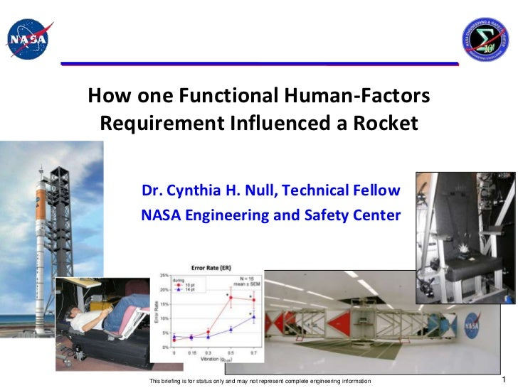 How one Functional Human-Factors Requirement Influenced a Rocket    Dr. Cynthia H. Null, Technical Fellow    NASA Engineer...