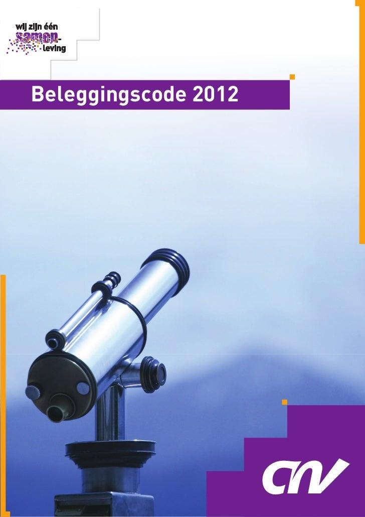 Cnv beleggingscode pensioenfondsen 2012
