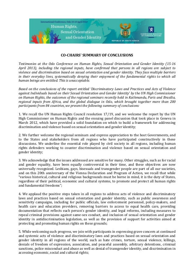 CO-CHAIRS' SUMMARY OF CONCLUSIONSTestimonies at the Oslo Conference on Human Rights, Sexual Orientation and Gender Identit...
