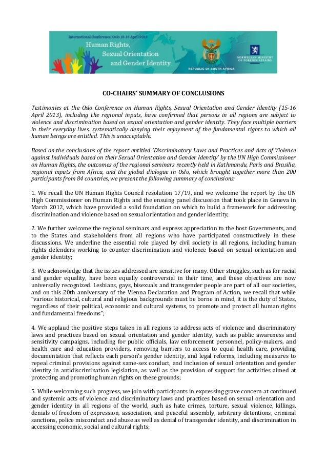 Co chairs summary of conclusions - Conferencia Internacional sobre Derechos Humanos, Orientación Sexual e Identidad de Género. Noruega, 2013