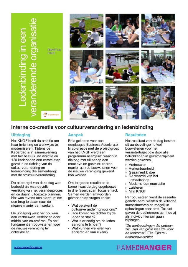 Ledenbindingineen veranderendeorganisatie PRAKTIJK CASE Interne co-creatie voor cultuurverandering en ledenbinding Uitdagi...