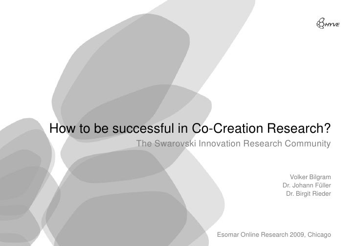 How to be successful in Co-Creation Research