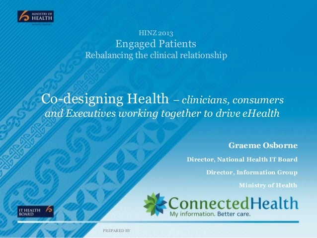 HINZ 2013  Engaged Patients Rebalancing the clinical relationship  Co-designing Health – clinicians, consumers and Executi...