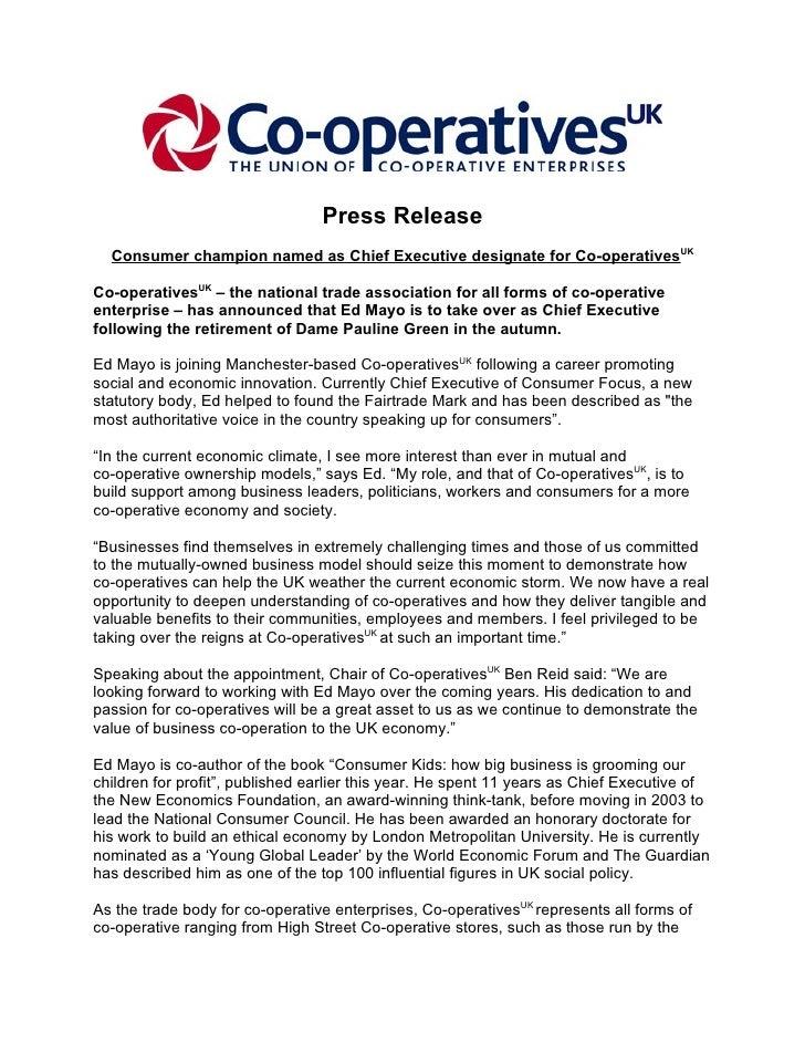 Press Release   Consumer champion named as Chief Executive designate for Co-operativesUK  Co-operativesUK – the national t...