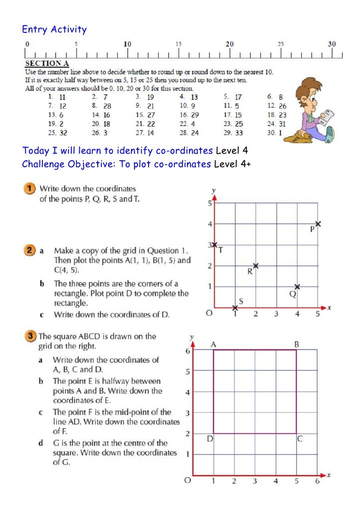 Entry ActivityToday I will learn to identify co-ordinates Level 4Challenge Objective: To plot co-ordinates Level 4+