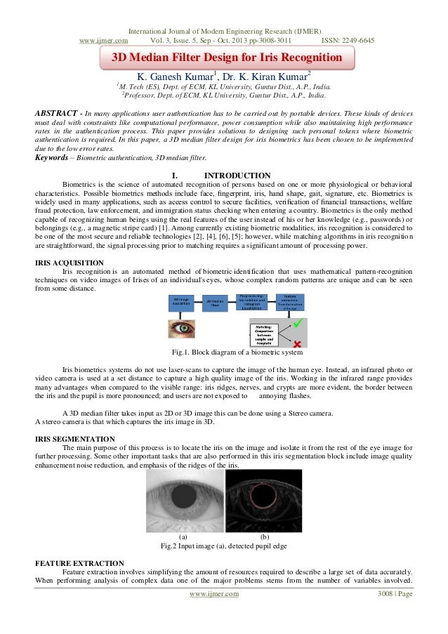 3D Median Filter Design for Iris Recognition