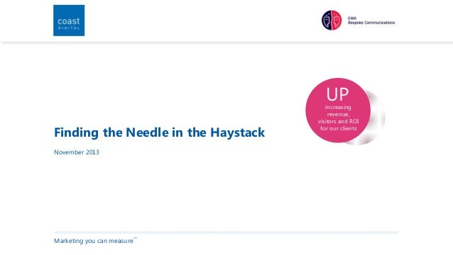 UP  Finding the Needle in the Haystack November 2013  Marketing you can measure  TM  increasing revenue, visitors and ROI ...